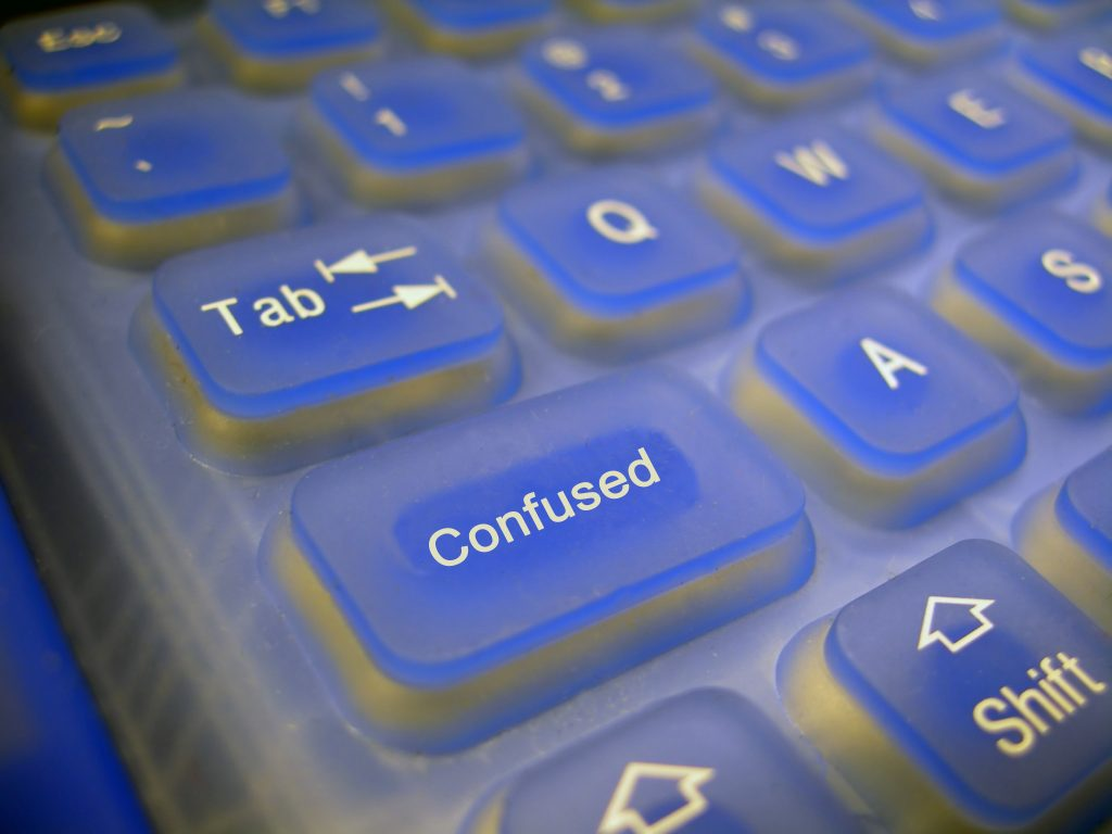 "Keyboard with ""confused"" key."